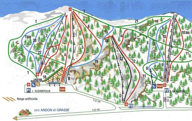 Схема трасс горнолыжного курорта Л'Аудиберж - Ла Мюльер