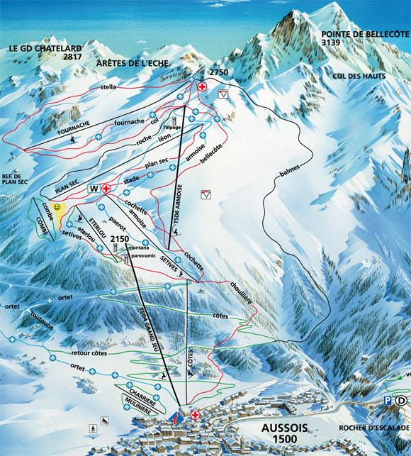 Схема трасс горнолыжного курорта Осуаз