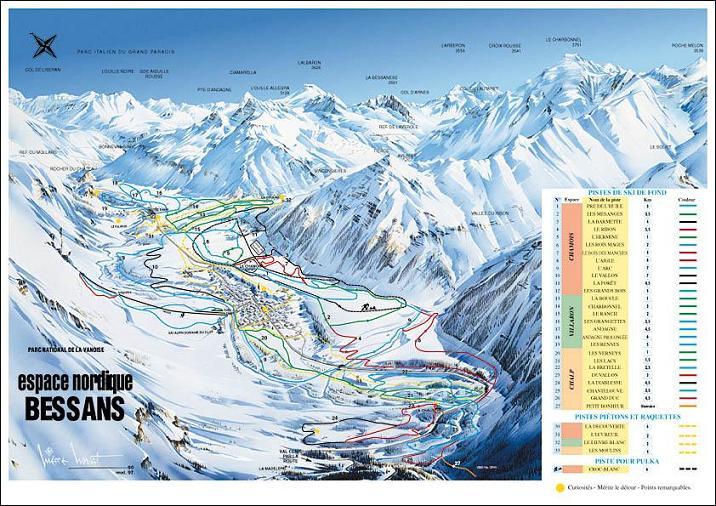 Схема трасс горнолыжного курорта Бессанз