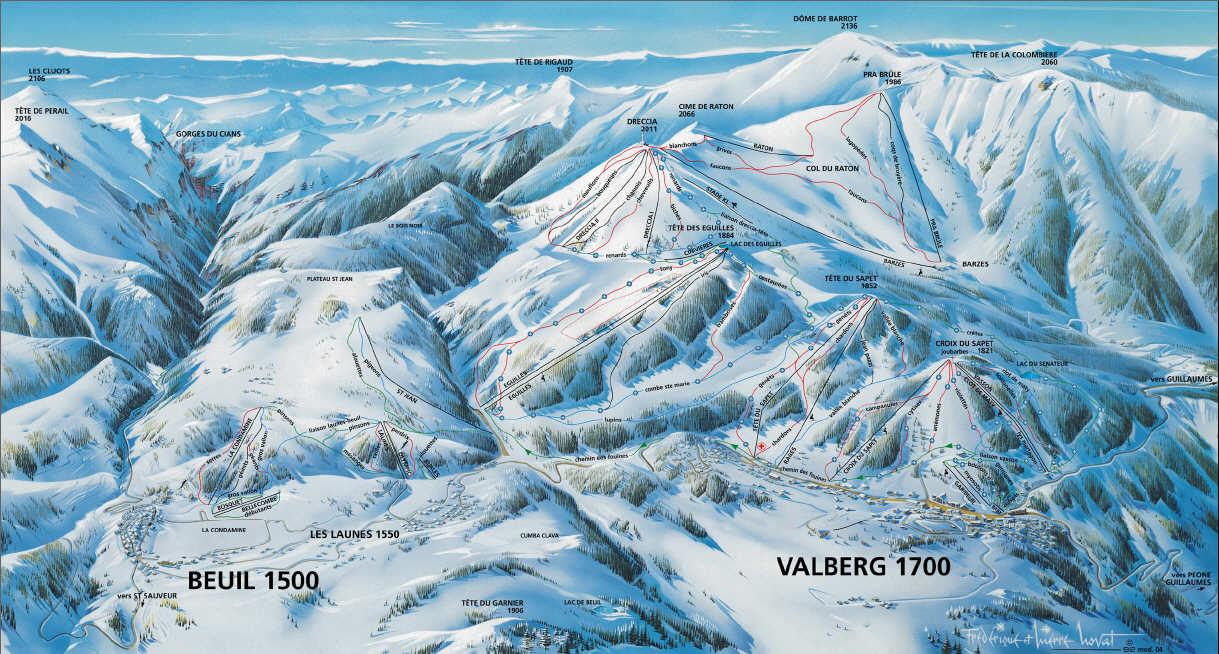 Схема трасс горнолыжного курорта Бреуль ле Лонес