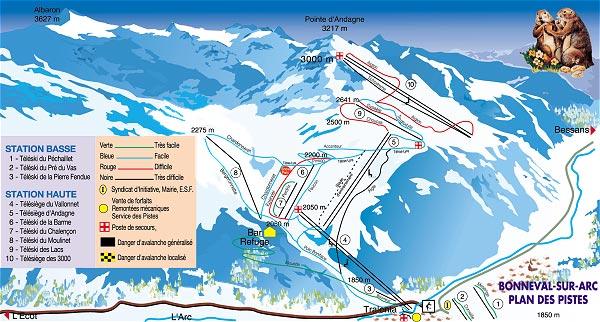 Схема трасс горнолыжного курорта Бонваль сюр Арк