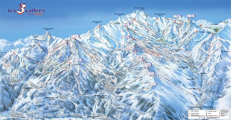 Схема трасс горнолыжного курорта Брид Ле Бэн
