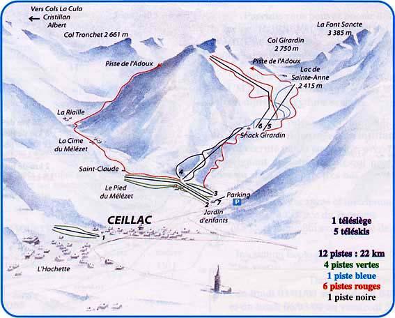 Схема трасс горнолыжного курорта Сейлак