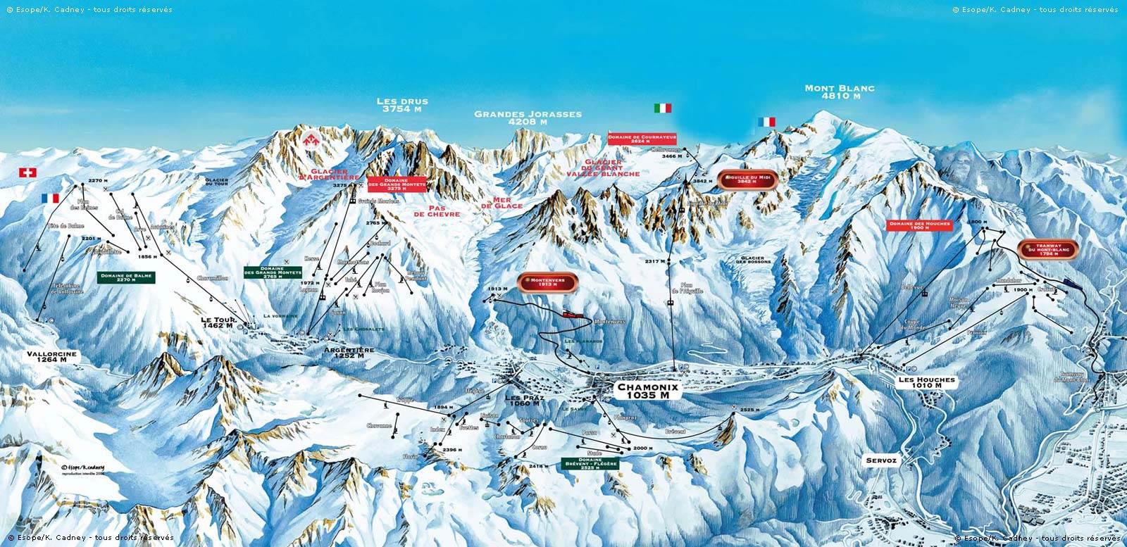 Схема трасс горнолыжного курорта Шамони