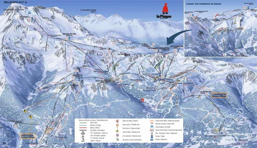 Схема трасс горнолыжного курорта Шампани ан Вануаз