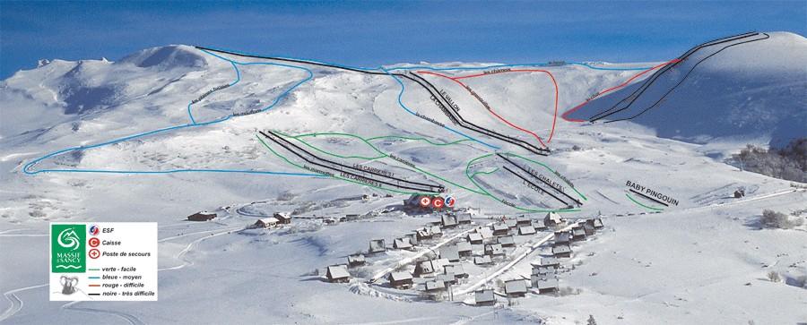 Схема трасс горнолыжного курорта Шастре Санси