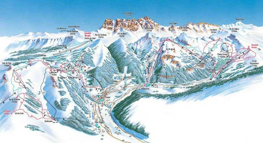 Схема трасс горнолыжного курорта Шатель