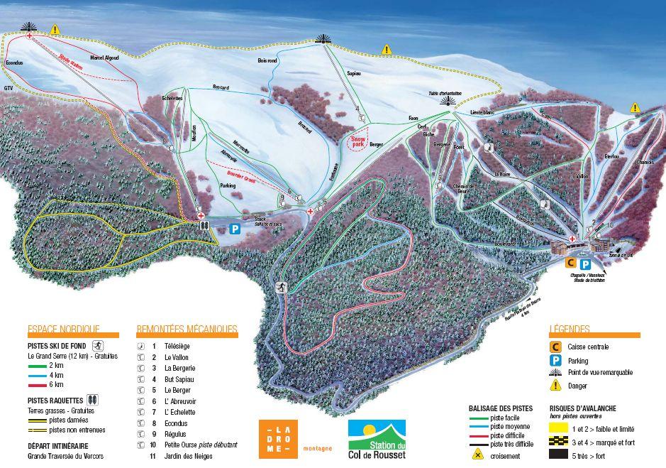 Схема трасс горнолыжного курорта Коль де Руссе