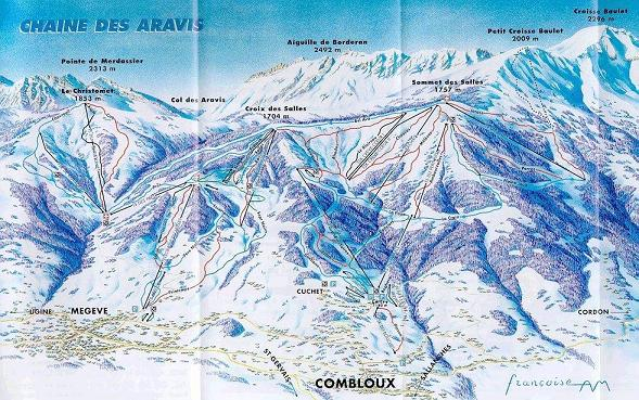 Схема трасс горнолыжного курорта Комблу