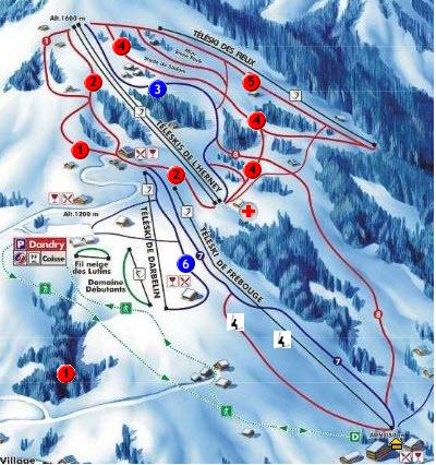 Схема трасс горнолыжного курорта Кордон