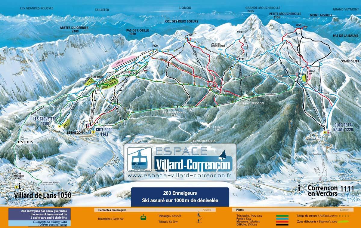 Схема трасс горнолыжного курорта Коррансон ан Веркор