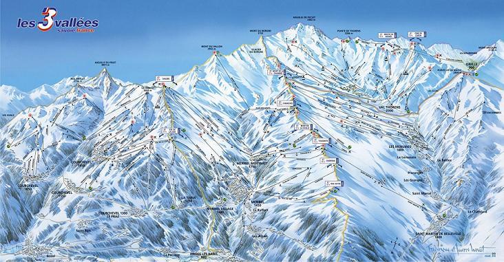 Схема трасс горнолыжного курорта Куршевель