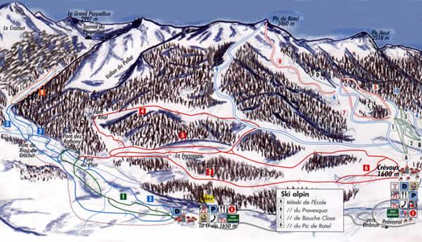 Схема трасс горнолыжного курорта Шервуа