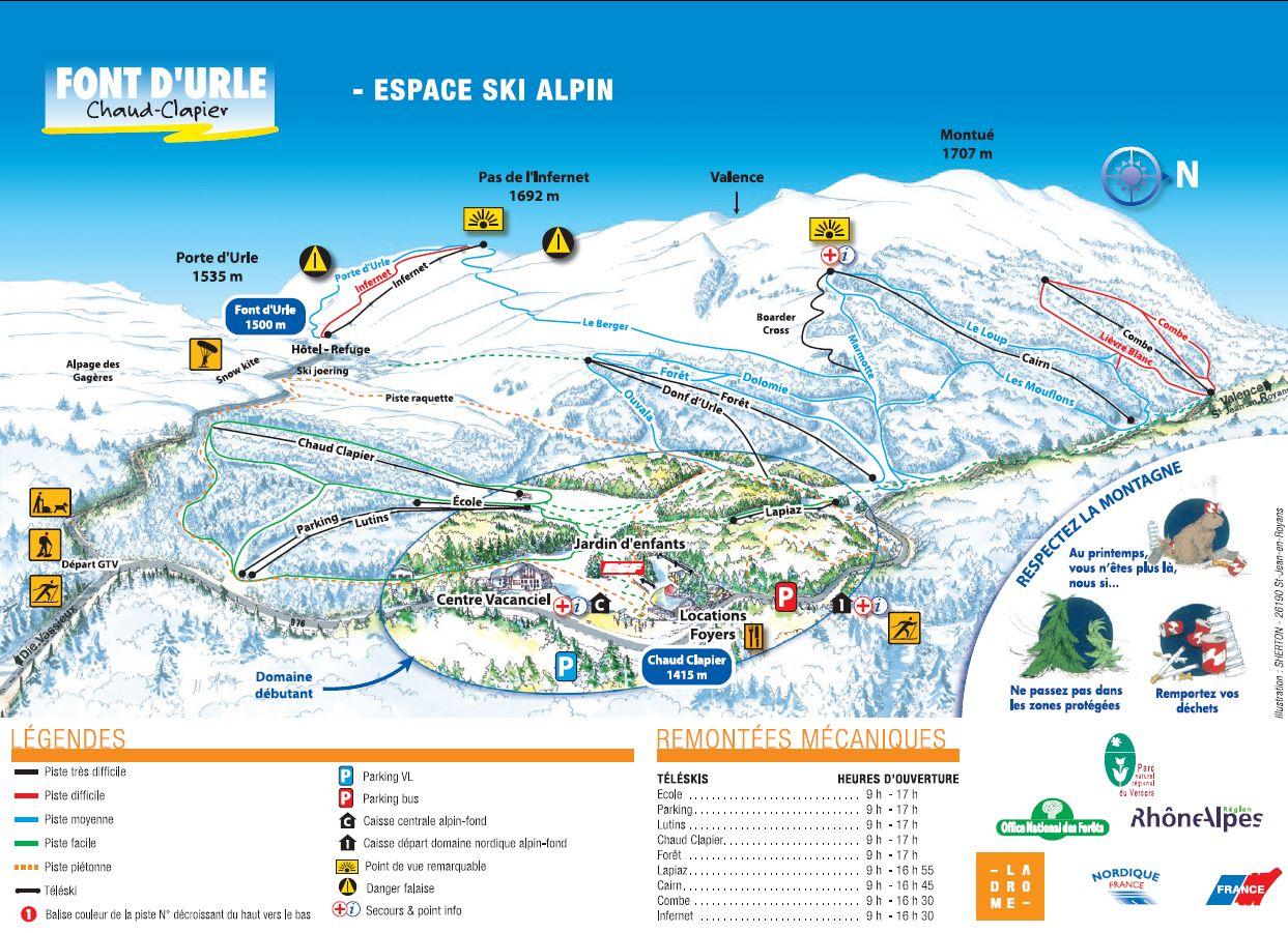 Схема трасс горнолыжного курорта Фонт д'Ул