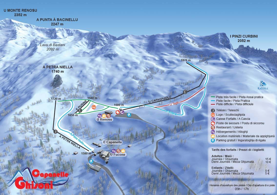 Схема трасс горнолыжного курорта Жизони