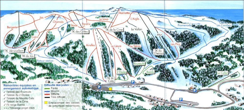 Схема трасс горнолыжного курорта Гриолере ле Неж