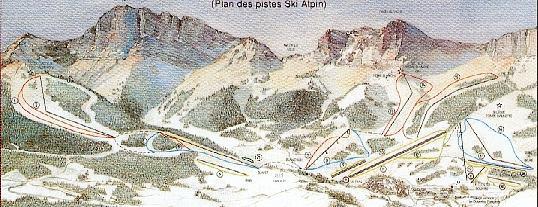 Схема трасс горнолыжного курорта Грессе ан Веркор
