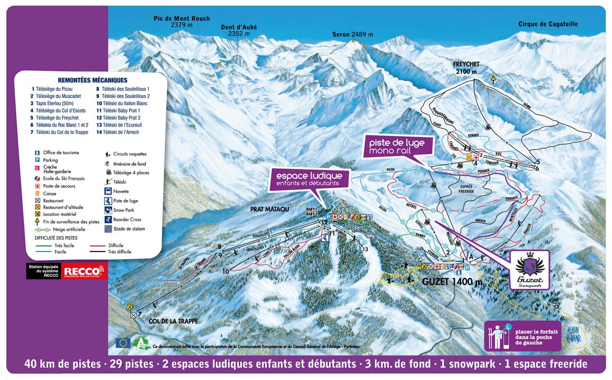 Схема трасс горнолыжного курорта Гузет