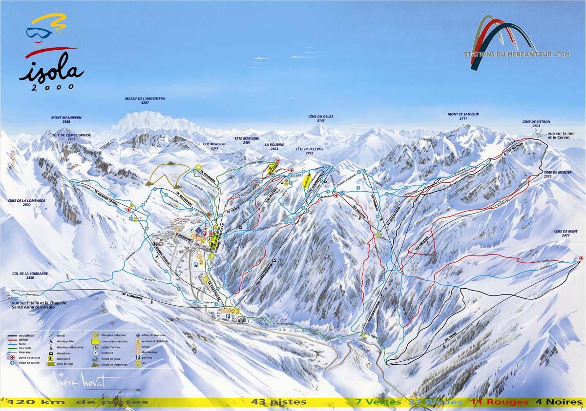 Схема трасс горнолыжного курорта Изола 2000