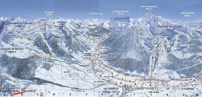 Схема трасс горнолыжного курорта Ла Шапель д'Абонданс