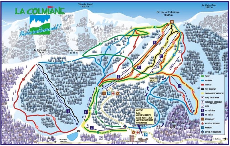 Схема трасс горнолыжного курорта Ла Кольмиан