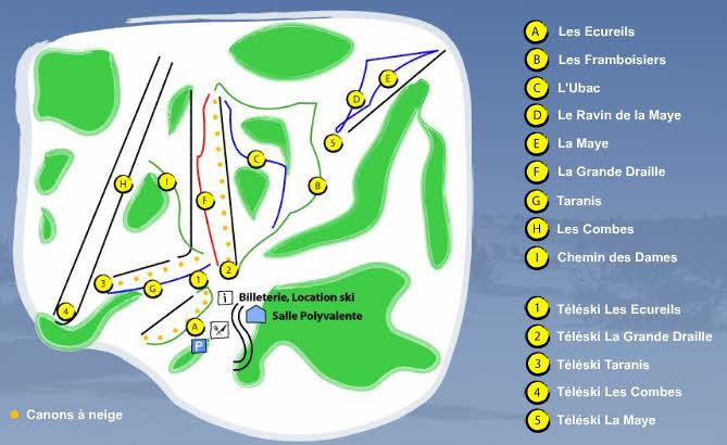 Схема трасс горнолыжного курорта Ла Круа де Бозон