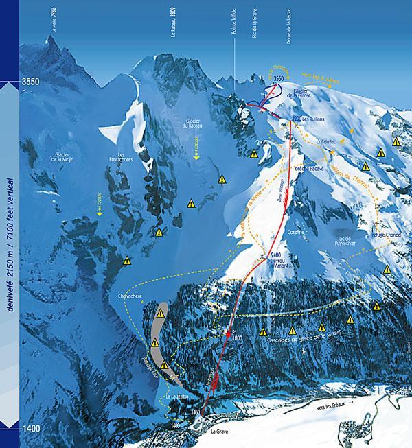 Схема трасс горнолыжного курорта Ла Грав ла Меж
