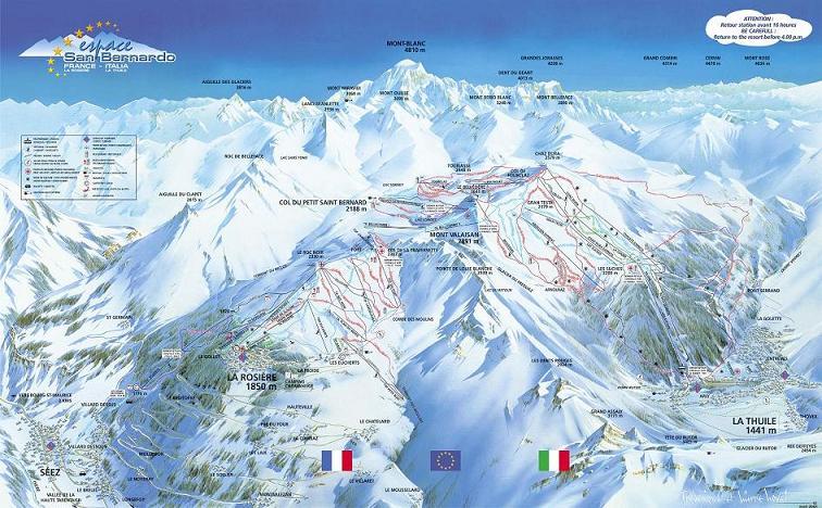 Схема трасс горнолыжного курорта Ла Розьер 1850