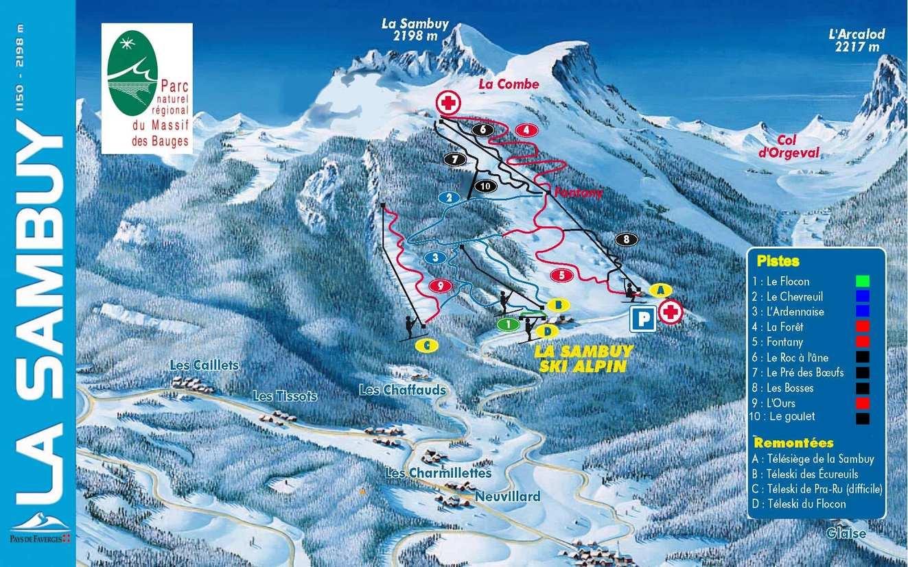 Схема трасс горнолыжного курорта Ла Самбуй
