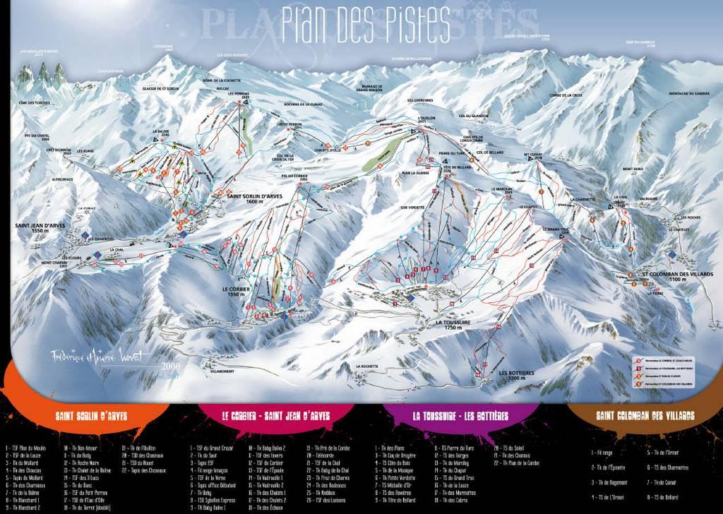 Схема трасс горнолыжного курорта Ла Туссюир