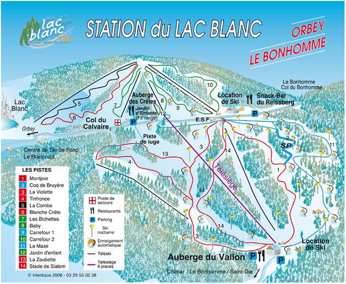 Схема трасс горнолыжного курорта Ле Лак Блан