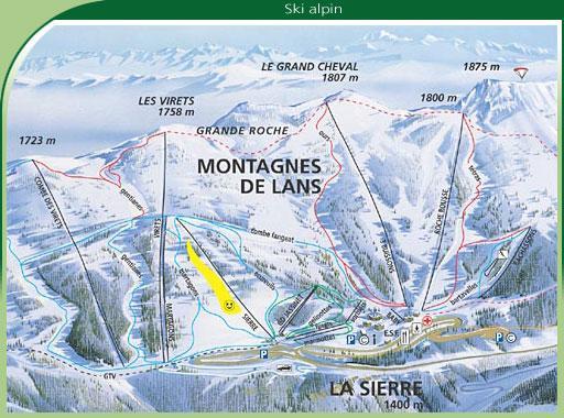 Схема трасс горнолыжного курорта Ланс ан Веркор