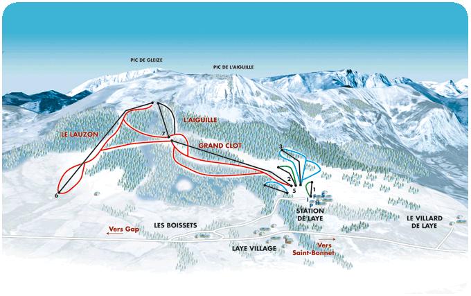 Схема трасс горнолыжного курорта Лэ ан Шамсор