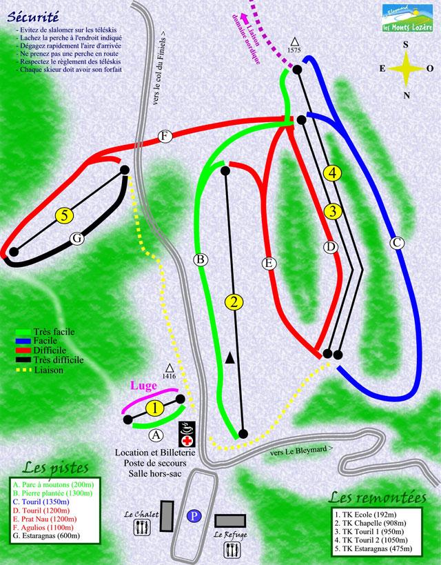 Схема трасс горнолыжного курорта Блейма Ле   Мон Лозер