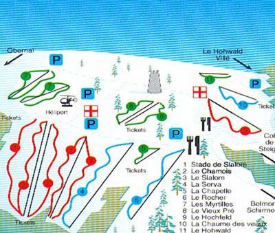 Схема трасс горнолыжного курорта Ле Шан дю Фе