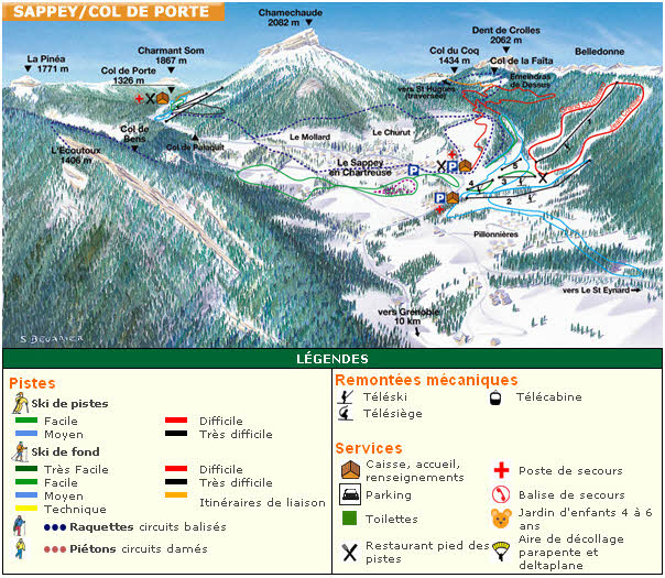 Схема трасс горнолыжного курорта Коль де Порте
