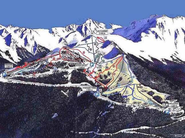 Схема трасс горнолыжного курорта Ле Колле д'Аллевар