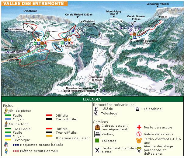 Схема трасс горнолыжного курорта Ле Дезерт д'Энтремонт