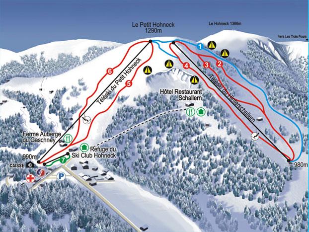 Схема трасс горнолыжного курорта Ле  Гашне