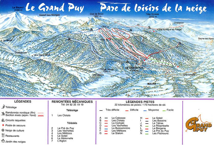 Схема трасс горнолыжного курорта Ле Гран Пюи