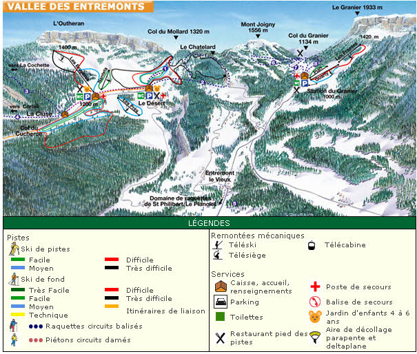 Схема трасс горнолыжного курорта Ле Гранье