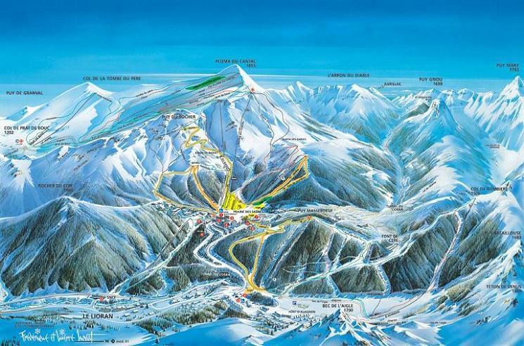 Схема трасс горнолыжного курорта Ле Лиоран