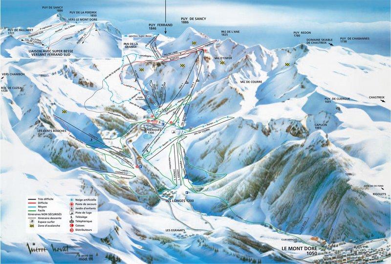 Схема трасс горнолыжного курорта Ле Мон Дор