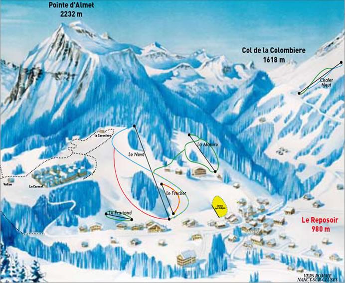 Схема трасс горнолыжного курорта Ле Репосьер