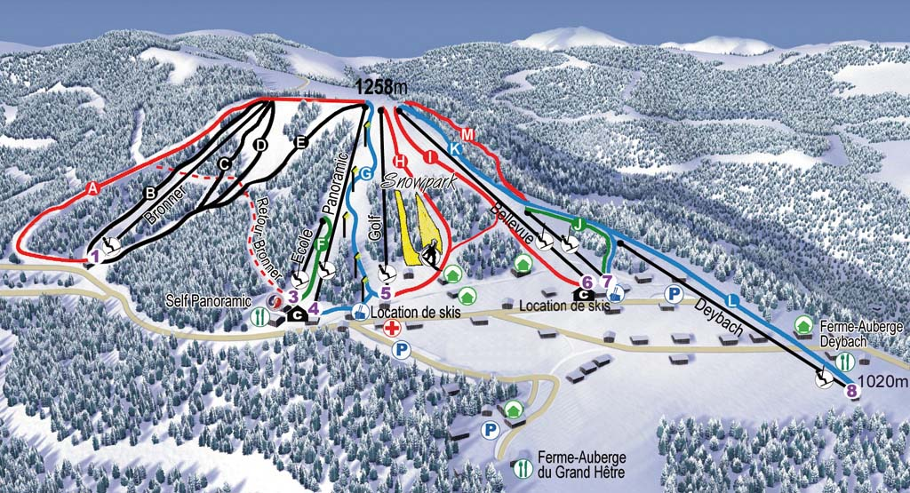 Схема трасс горнолыжного курорта Ле Шнепфенрид