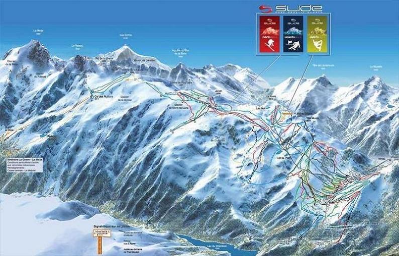 Схема трасс горнолыжного курорта Ле дез Альп