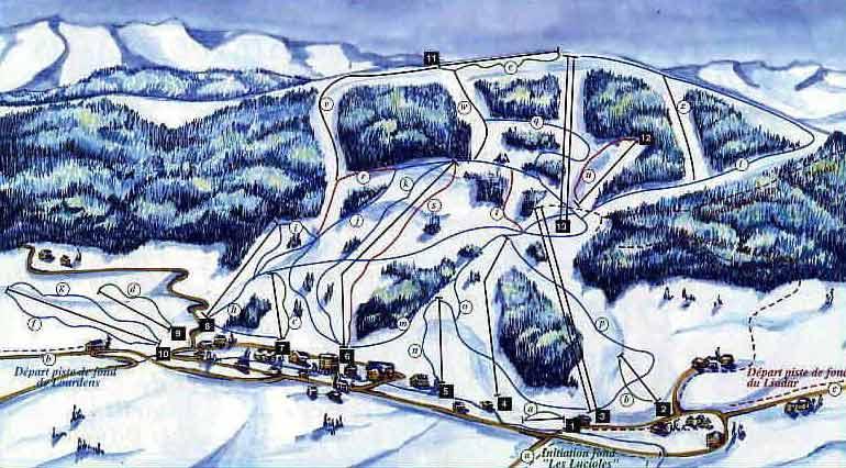 Схема трасс горнолыжного курорта Айлонс Маржеро