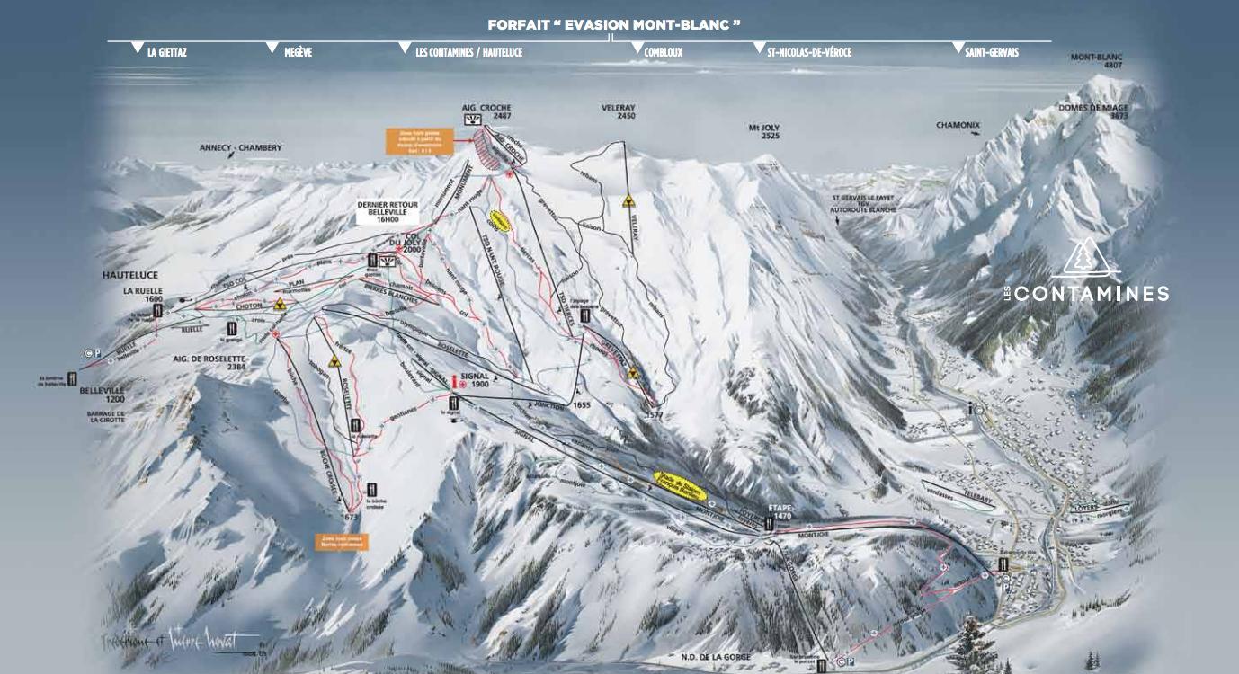 Схема трасс горнолыжного курорта Ле Контамин Монжуа