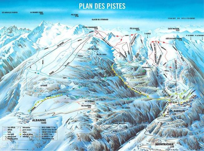 Схема трасс горнолыжного курорта Ле Карелис