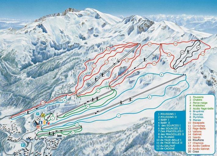 Схема трасс горнолыжного курорта Ле Мон д'Ольм